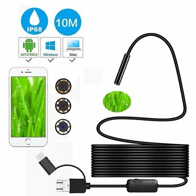 3in1 1200P Semi-Rigid Endoscope USB C Micro Inspection 8LED Camera Multi Option
