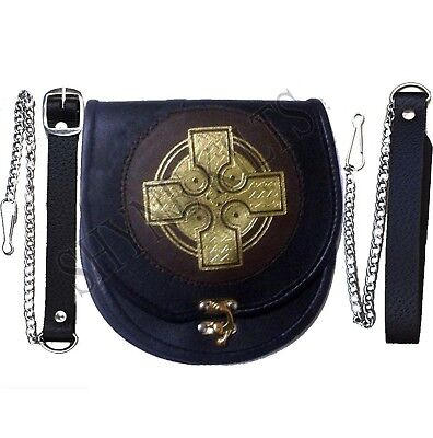 Leather Sporran Gold Cross Black/Brown Leather Sporran for Kilts with Chain B...