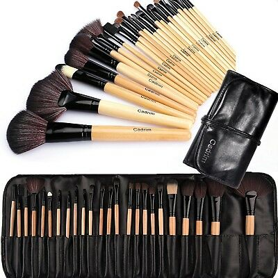 Make up Brushes Cadrim 24 pcs Natural Hair Professional Makeup Brush Set Trav...