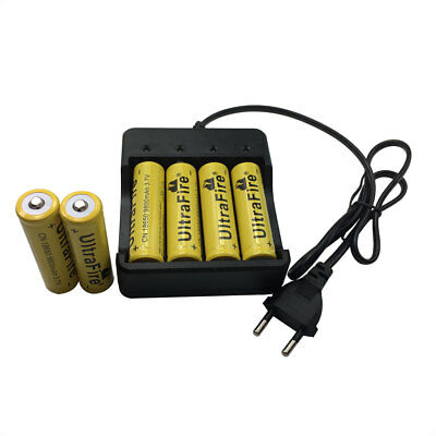 6X 18650 9800mAh Batterie 3.7V Li-ion Rechargeable Battery with 4.2V EU Chargeur