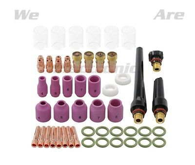 49PCS TIG Welding Torch Stubby Gas Lens #10 Pyrex Glass Cup Kit For WP-17/18/26