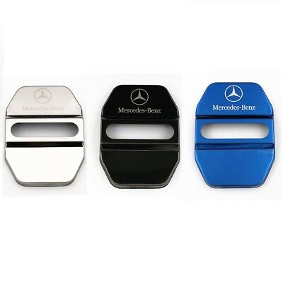 4Pcs/Lot Silver Stainless Steel Door Lock Decoration Cover Sticker for Benz