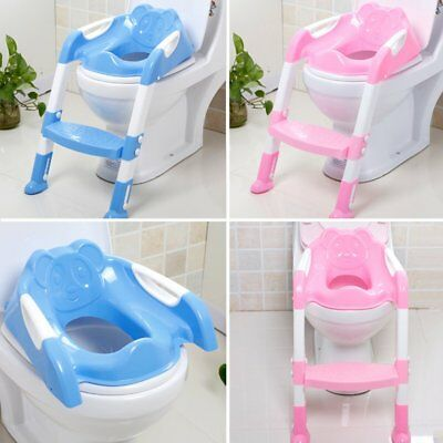 Kids Toilet Potty Trainer Seat Step Up Training Stool Chair Toddler With LaddHs