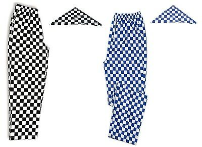 Chef Trousers Check Chefs Pants with matching Neck Tie Workwear Blue Black
