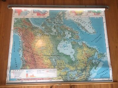 """Nystrom Canada Physical & Political Map - 2 Layer School Pull Down Map 62""""x52"""""""