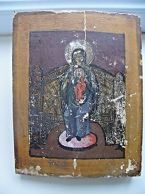 """Antique 19c Russian Hand Painted Wood Icon """"The Virgin The Akathist"""""""
