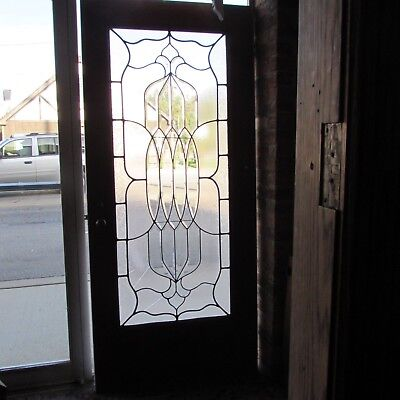 Combination Bevel Glue Chip & Clear Glass Door 36 x 80 Architectural Salvage