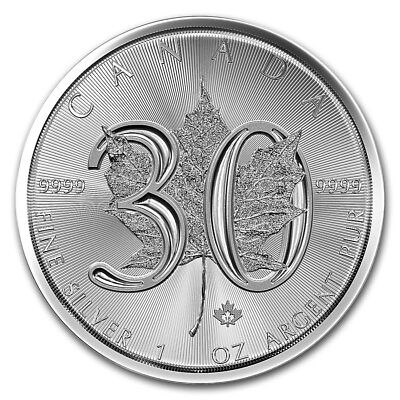MAPLE LEAF 30e ANNIVERSAIRE 2018 CANADA ONCE ARGENT 9999 SILVER 30th BIRTHDAY 5$