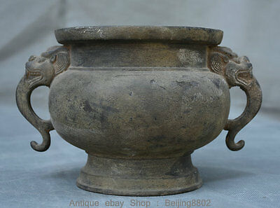 "7.6"" Rare Marked Antique Chinese Bronze Dragon Beast Ear Incense Burner Censer"