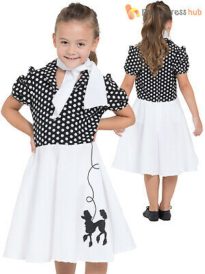 Girls Poodle Costume Childs 50s 60s Rock N Roll Costume Kids Decades Outfit