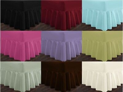 Fitted Valance Sheets Poly Cotton Bed Sheet Small Double Single Super King Size