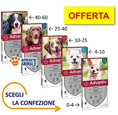 Advantix Bayer - 4 pipette per cani da 0-4 / 4-10 / 10-25 / 25-40 / 40-60 kg