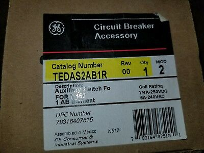 GE TEDAS2AB1R Circuit Breaker Accessory Auxiliary Switch For E150 1 AB Element