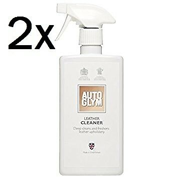 2x NEW Autoglym LEATHER Upholstery CLEANER SPRAY 500ml Valet Clean Car FREE GIFT