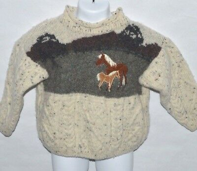 McKennas Youth Thick Wool Horse Sweater Size 5/7 Long Sleeve Highland Heritage