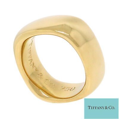 NYJEWEL Tiffany & Co. 18K Yellow Gold 2003 8mm Wide Square Wedding Band Ring