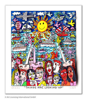 "Neue James Rizzi 3 D Arbeit "" Things are looking up"" original Zertifikat"