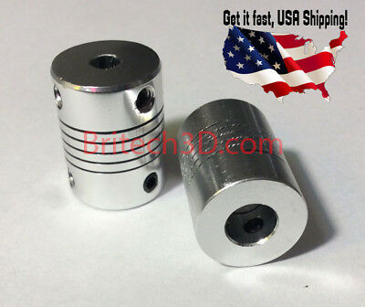 2 Aluminum Flexible Shaft Coupler 5mmx8mm For CNC Reprap Prusa I3 3D printer etc