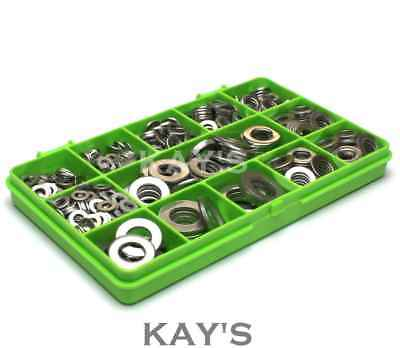 Flat Washer Form A A2 Stainless Steel M4 M5 M6 M8 M10 M12 Assorted 395 Piece Kit