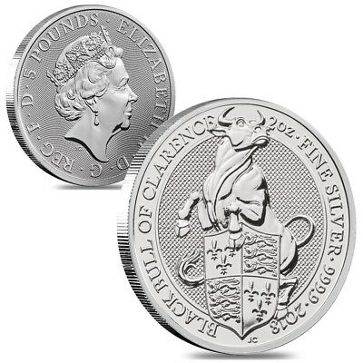 Lot of 2 - 2018 Great Britain 2 oz Silver Queen's Beasts (Black Bull) Coin BU