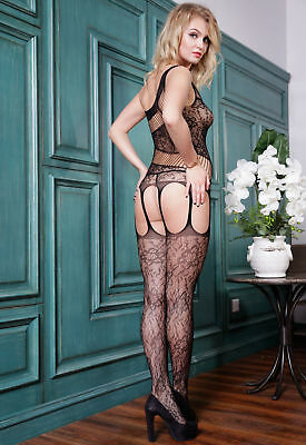 Bodystocking sexy donna catsuit lingerie sexy intimo notte Tuta nera hot