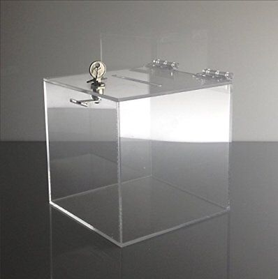 """T'z Tagz Brand 8""""L X 8""""W 8""""H Acrylic Charity Donation Ballot Tip Box Container"""
