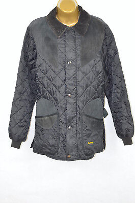 BARBOUR Sutherland black quilted jacket, SMALL, WELL LOVED!