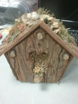 Hand Crafted Rustic Wooden Bird House Barn  House Patio Decor