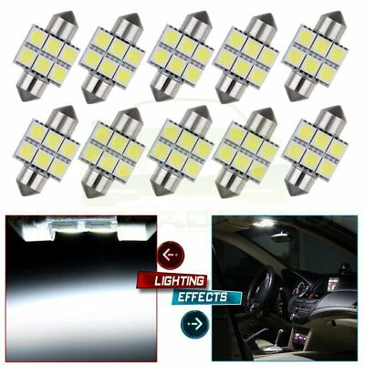 10X White Lamp 31MM 6SMD Festoon Dome Map Cargo Interior Car LED Light Bulbs New
