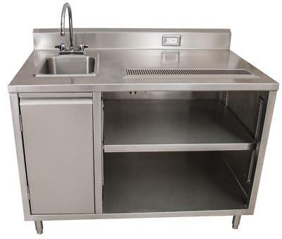BK Resources Beverage Counter Table Sink on Left BEVT-3072L All Stainless Steel