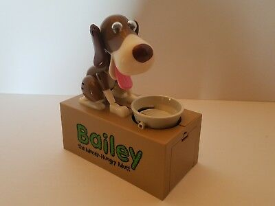 Bailey the Money-Hungry Mutt Brown White Electronic Mechanical Doggie Dog Bank