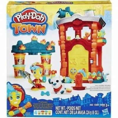Play-Doh Town Firehouse Create an Emergency Scene bySstacking the Play-Doh Cans