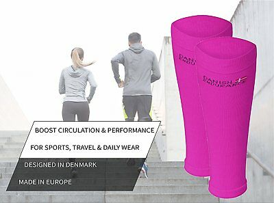 Graduated Calf Compression Sleeves by DANISH ENDURANCE (Small, Neon Pink)