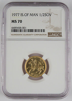 Isle of Man 1977 PM 1/2 Half Sovereign Sov Gold Coin NGC MS70 0.1177 Oz AGW
