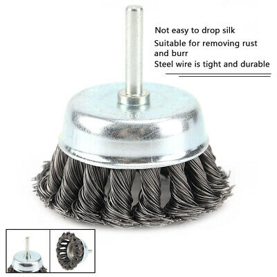 """3'' Metal Wire Wheel Cup Brush Crimped With 1/4"""" Shank For Die Grinder Drill"""