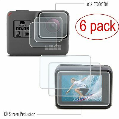 Screen Protector For GoPro Hero 6 5 Black Anti Scratch Tempered Glass 6 Pack