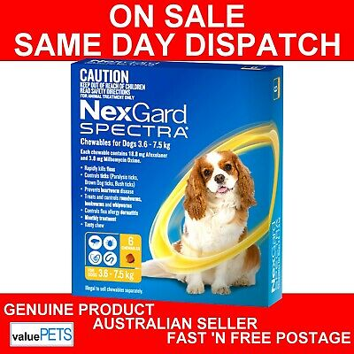 NexGard Spectra Chewables For Small Dogs Yellow 3.6-7.5kg 6 Pack