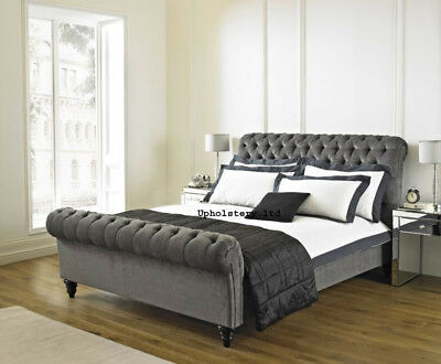 upholstered sleigh bed frame. Interesting Sleigh Chesterfield Fabric Upholstered Sleigh Bed Frame Double 4ft6 King 5FT And  6ft With Bed Frame A