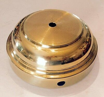"NEW-VINTAGE old stock SOLID SPUN BRASS LAMP PART BASE 6"" DIAMETER"