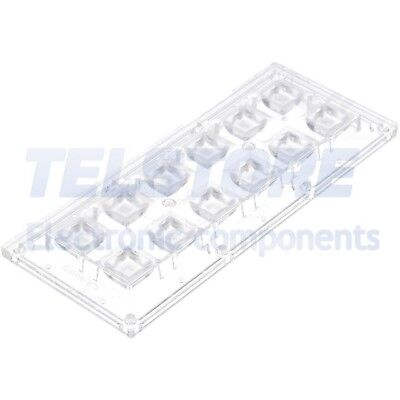 1pcs  Lentille LED rectangulaire transparent 85÷103° H 11,4mm