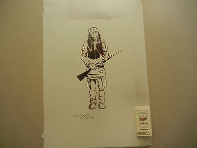 """authentic Apache Craft Apache warrior stencil painting on paper 18x24""""(271)"""