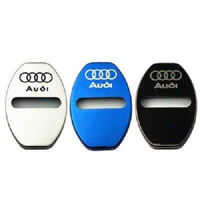 4Pcs/Lot Silver Stainless Steel Door Lock Decoration Cover Sticker for Audi