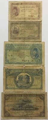 Lot Of 5 Egyptian Banknotes,King Farouk & Others, 5 & 10 & 25 Piastres,Egypt.