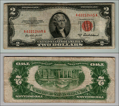 1953A $2 Dollar Bill Old  Note Legal Tender Paper Money Currency Red Seal P799