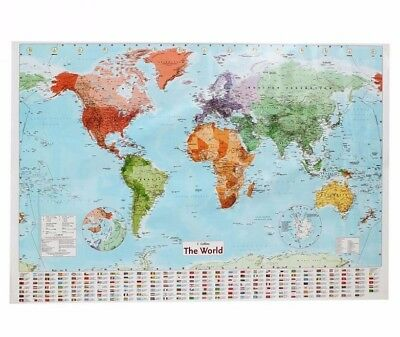 LARGE MAP OF THE WORLD [POSTER 68x98cm] With Country Flags Wall Chart Political