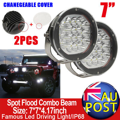 """2X7"""" 3600W CREE Spot Flood Beam LED Work Driving Spotlights Offroad HID Replace"""