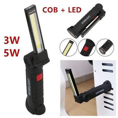 Powerful Rechargeable COB LED Hand Torch Lamp Magnetic Inspection Work Light Car