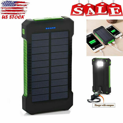 10000mAh Waterproof Solar Charger Dual USB External Battery Power Bank US STOCK