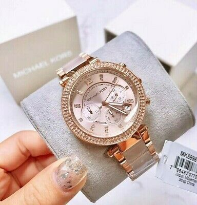 26e8c0b2a7a NEW Michael Kors MK5896 Parker Dial Rose Gold tone and Blush Acetate Wrist  Watch