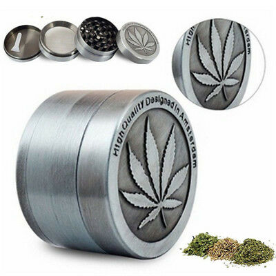 1PC Tobacco Herb Grinder Spice Herbal Smoke Crusher 4 Piece SILVER US STOCK